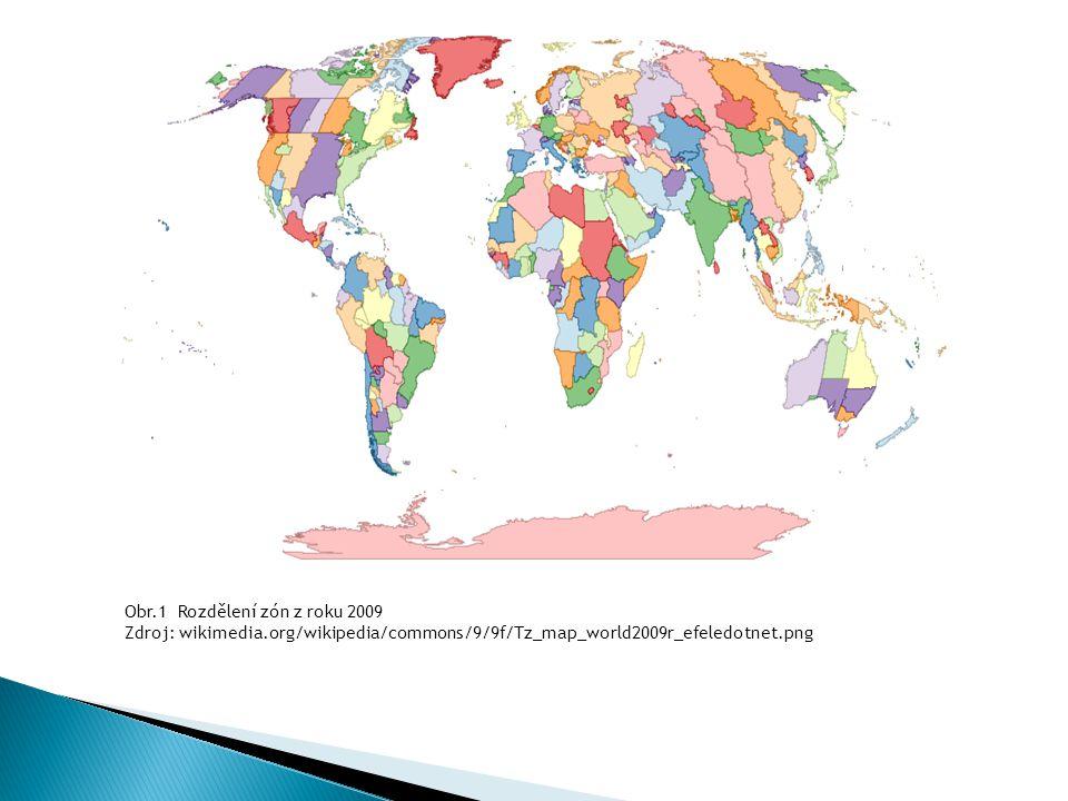Obr.1 Rozdělení zón z roku 2009