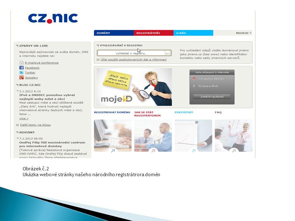 Obrázek č.2 Ukázka webové stránky našeho národního registrátrora domén