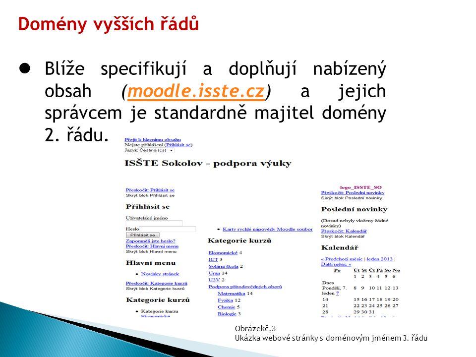 Domény vyšších řádů Blíže specifikují a doplňují nabízený obsah (moodle.isste.cz) a jejich správcem je standardně majitel domény 2. řádu.