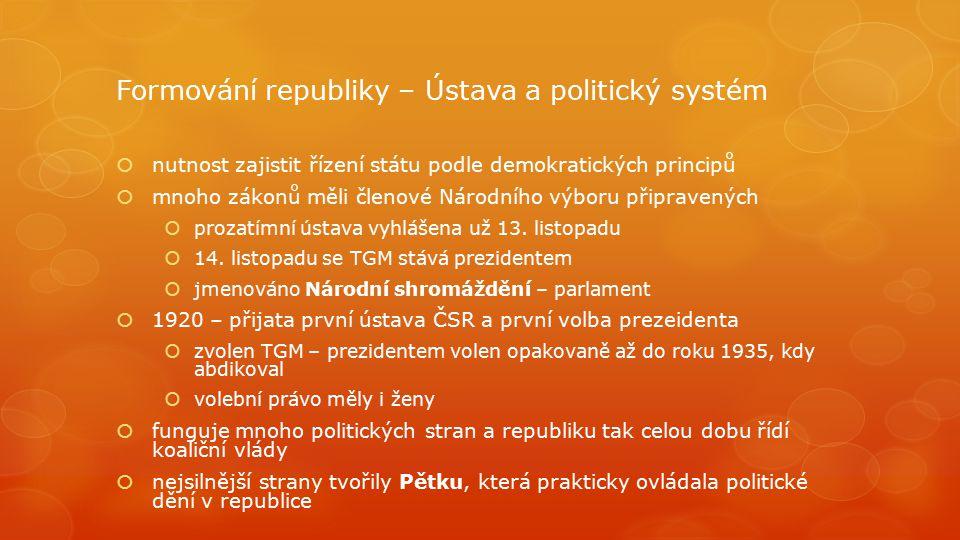 Formování republiky – Ústava a politický systém