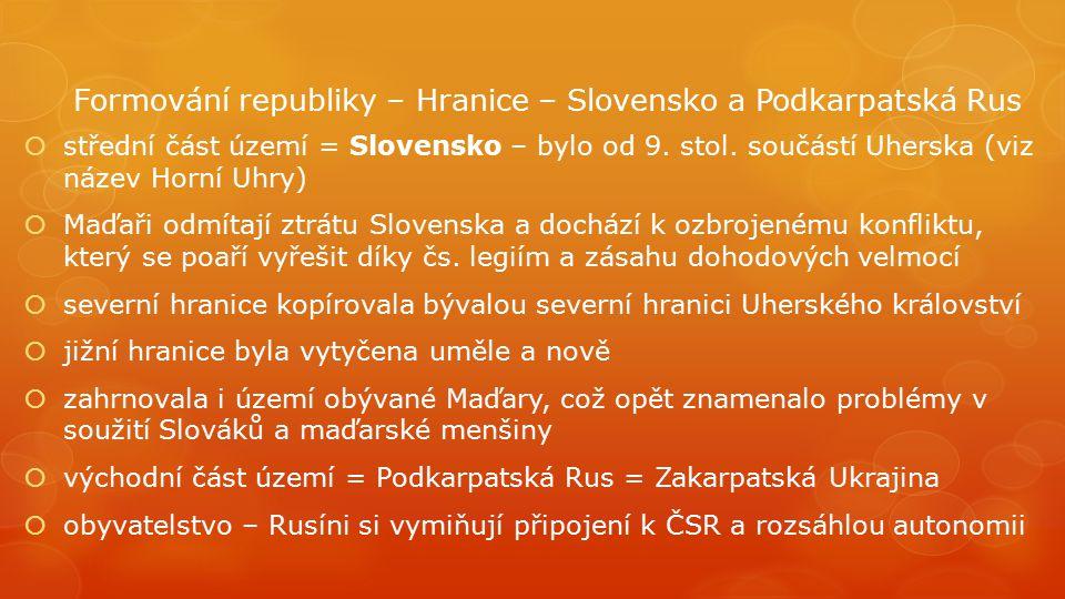 Formování republiky – Hranice – Slovensko a Podkarpatská Rus