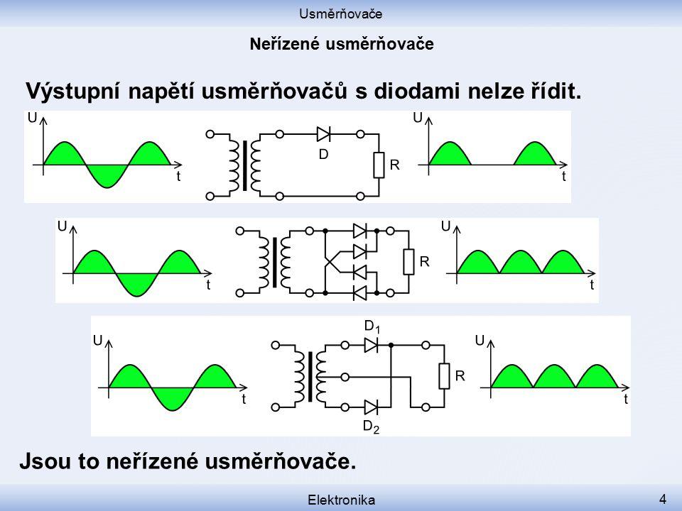 Výstupní napětí usměrňovačů s diodami nelze řídit.