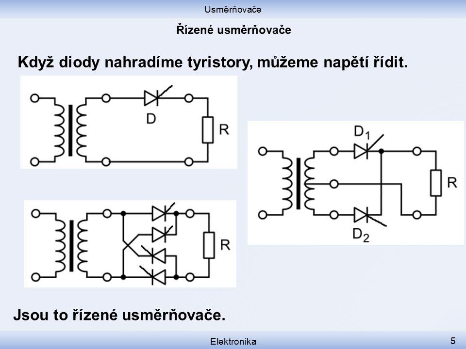 Když diody nahradíme tyristory, můžeme napětí řídit.