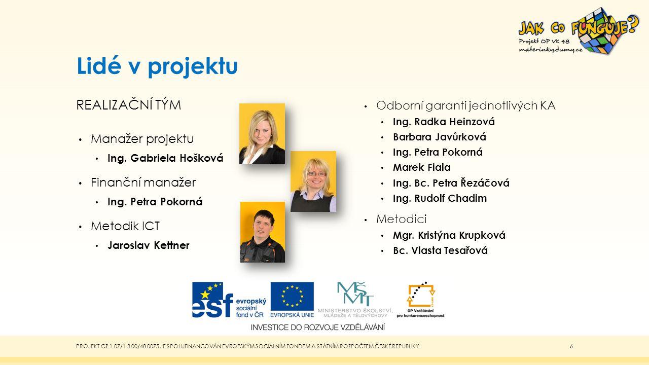 Lidé v projektu Realizační tým Manažer projektu Finanční manažer