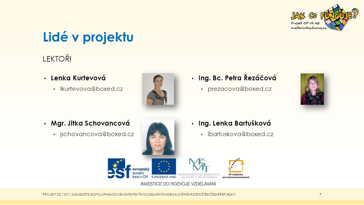 Lidé v projektu lektoři Lenka Kurtevová Mgr. Jitka Schovancová