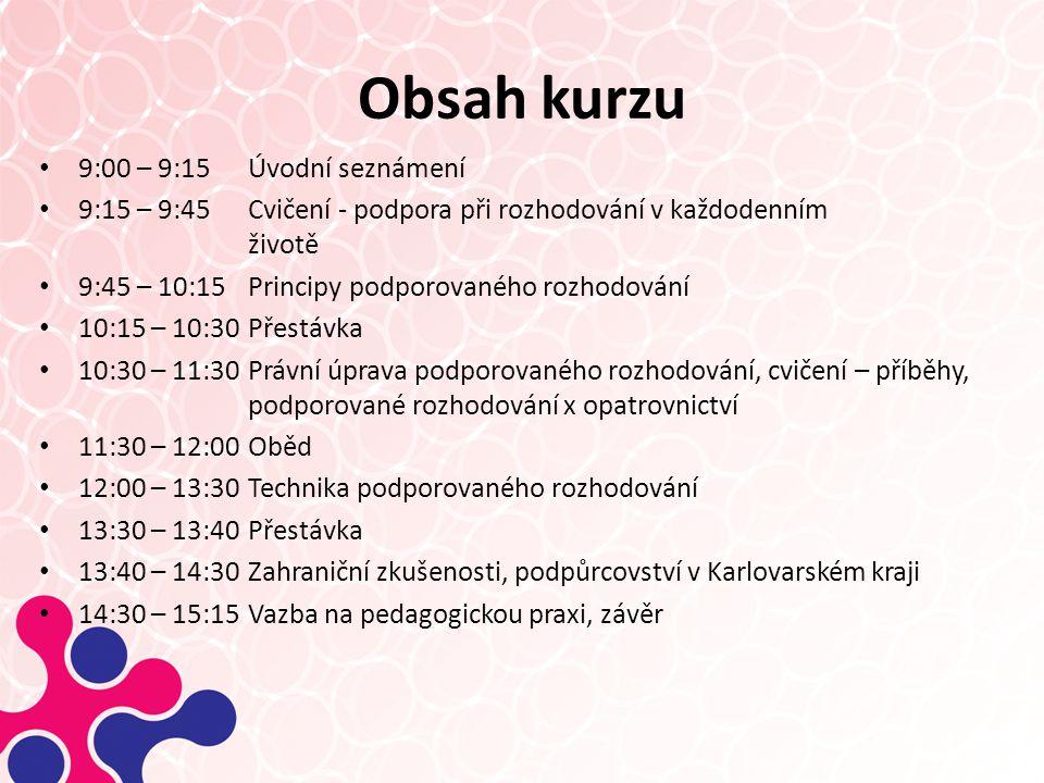 Obsah kurzu 9:00 – 9:15 Úvodní seznámení