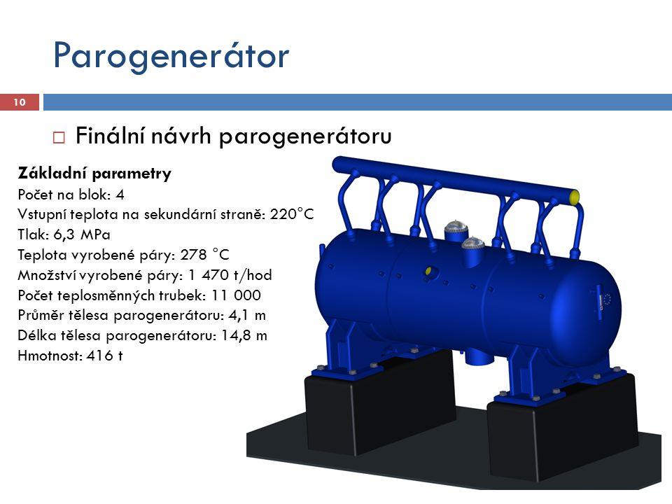 Parogenerátor Finální návrh parogenerátoru Základní parametry