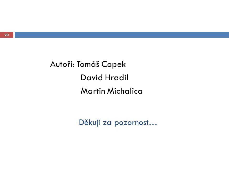 Autoři: Tomáš Copek David Hradil Martin Michalica