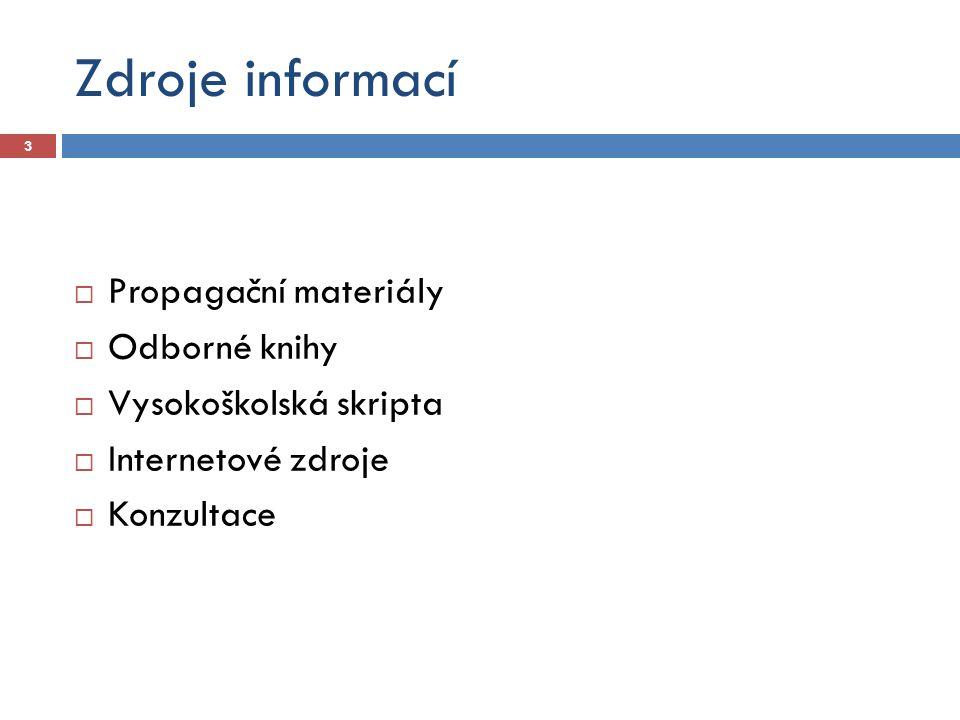 Zdroje informací Propagační materiály Odborné knihy