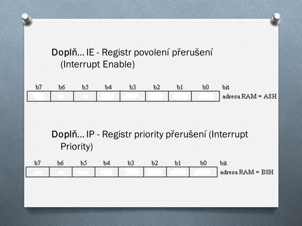 Doplň… IE - Registr povolení přerušení (Interrupt Enable) Doplň… IP - Registr priority přerušení (Interrupt Priority)