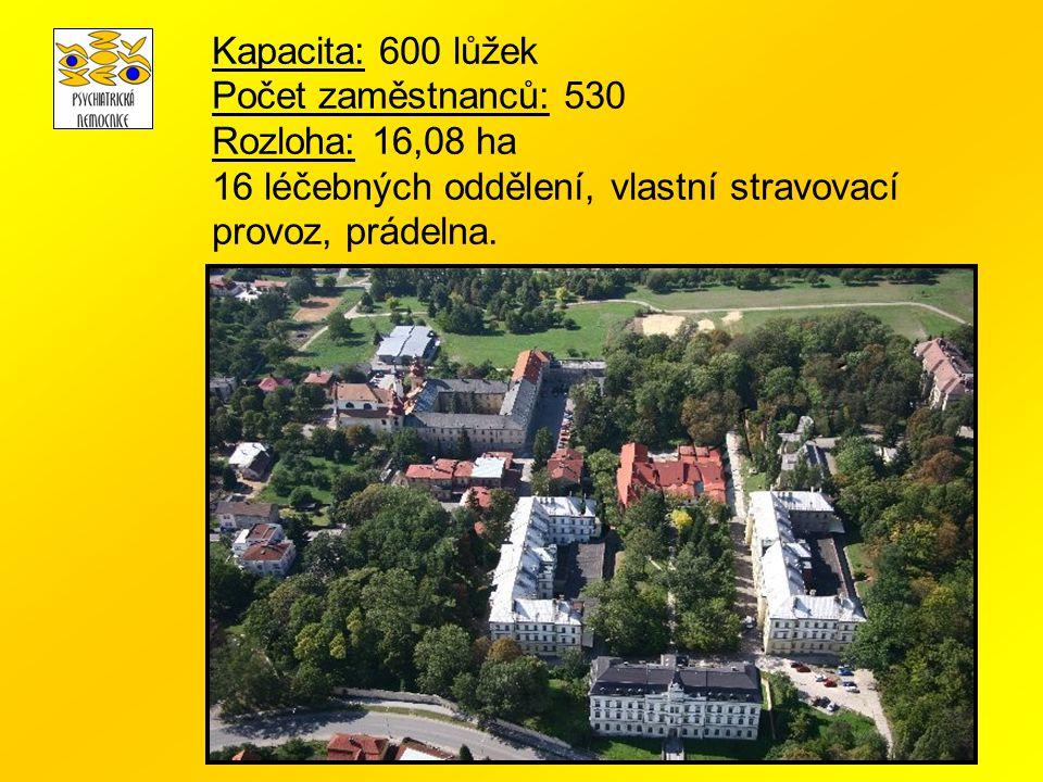 Kapacita: 600 lůžek Počet zaměstnanců: 530 Rozloha: 16,08 ha.