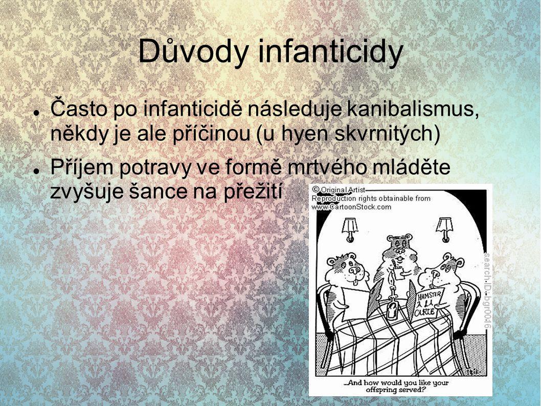 Důvody infanticidy Často po infanticidě následuje kanibalismus, někdy je ale příčinou (u hyen skvrnitých)