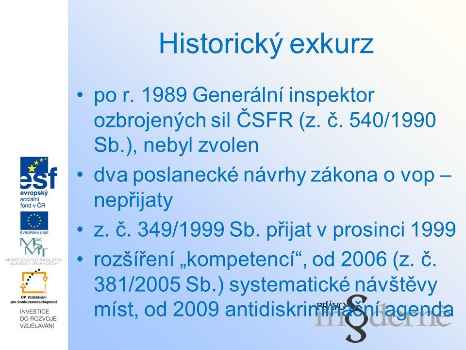 Historický exkurz po r. 1989 Generální inspektor ozbrojených sil ČSFR (z. č. 540/1990 Sb.), nebyl zvolen.