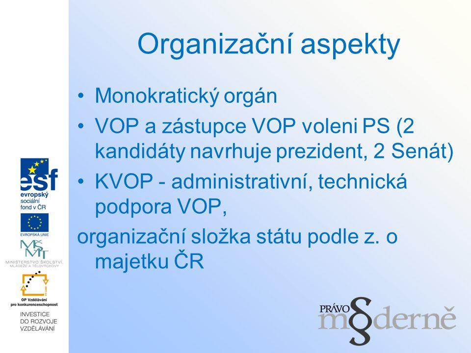 Organizační aspekty Monokratický orgán