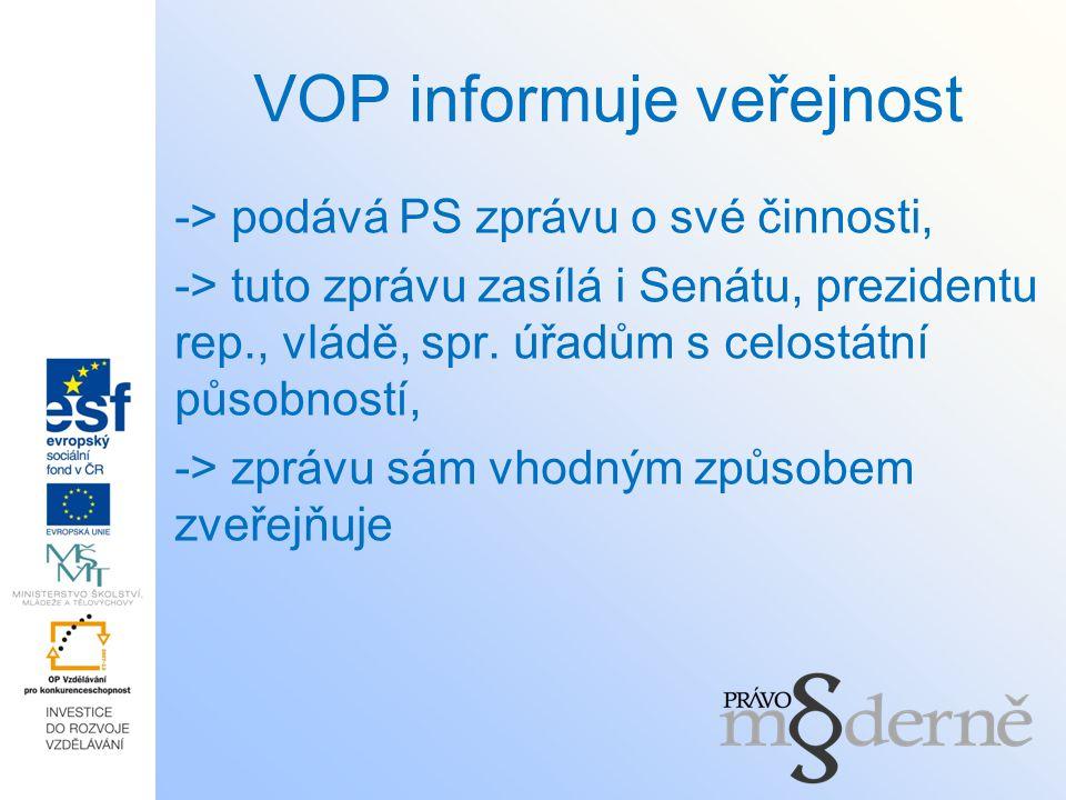 VOP informuje veřejnost