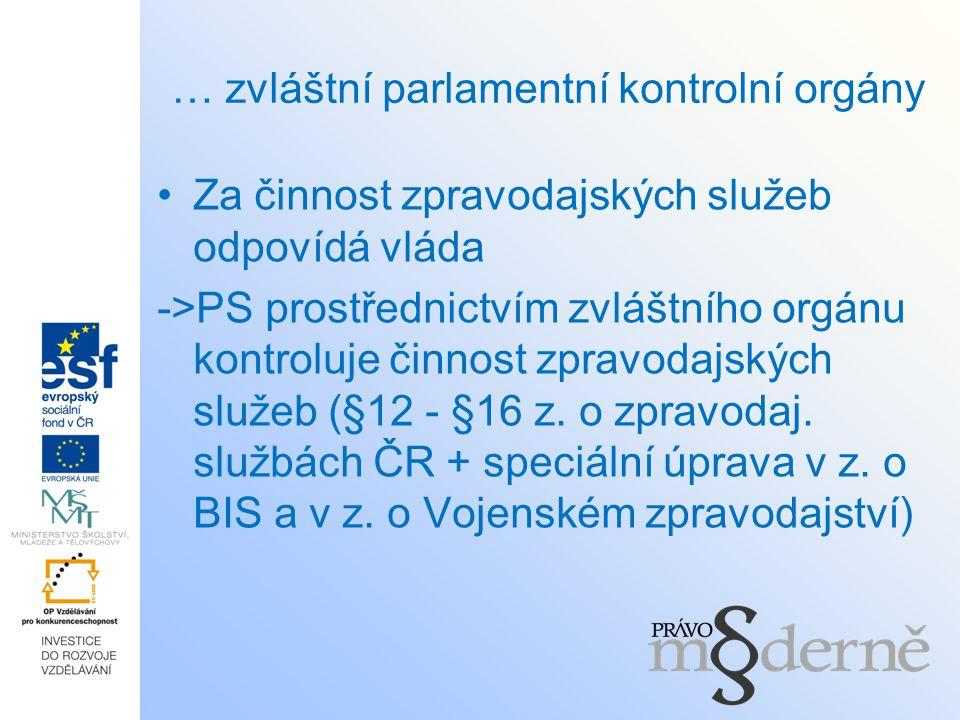 … zvláštní parlamentní kontrolní orgány