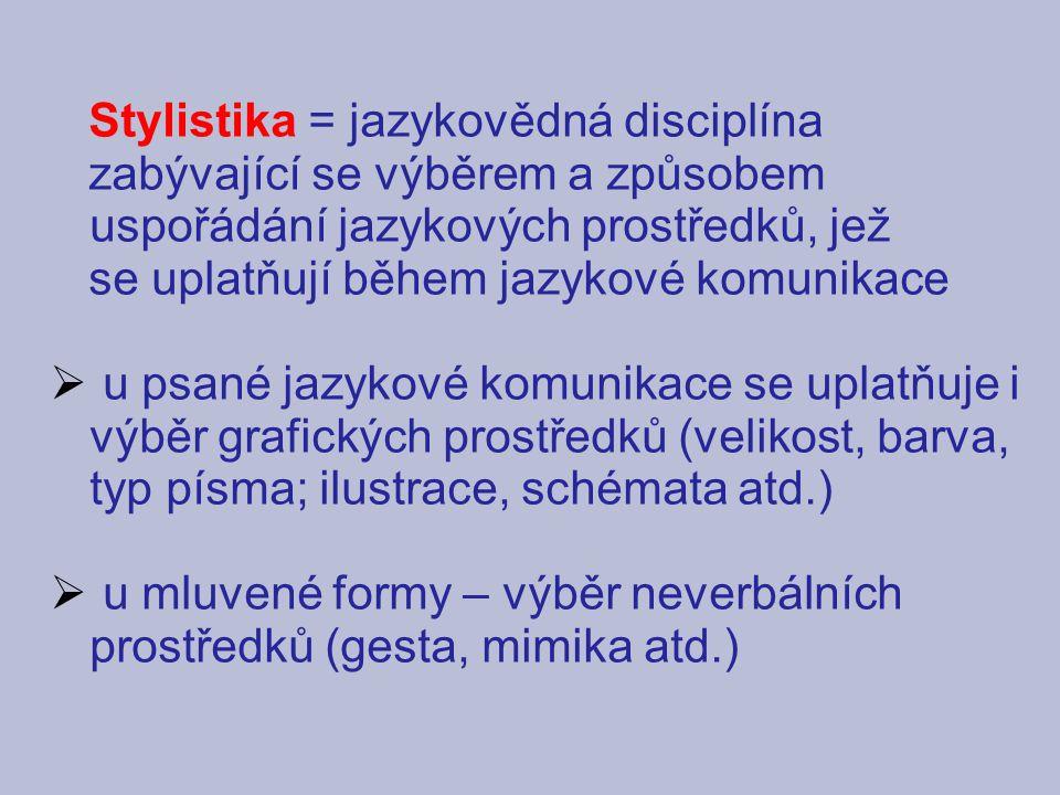 Stylistika = jazykovědná disciplína
