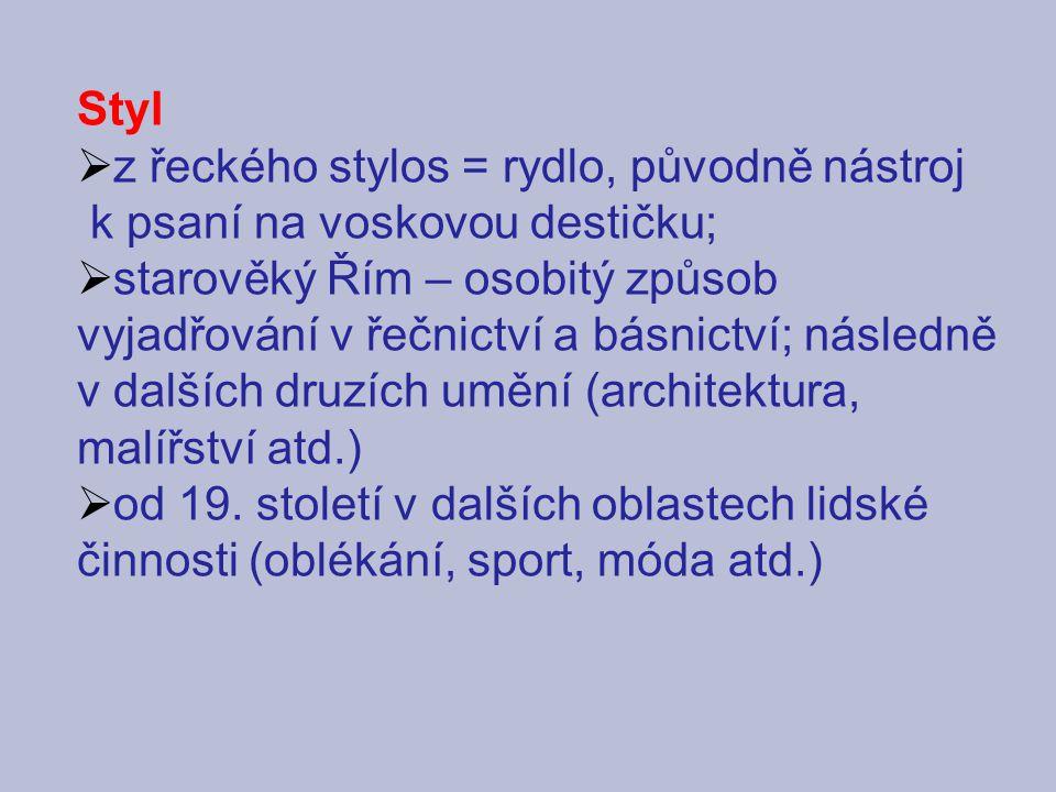 Styl z řeckého stylos = rydlo, původně nástroj. k psaní na voskovou destičku;