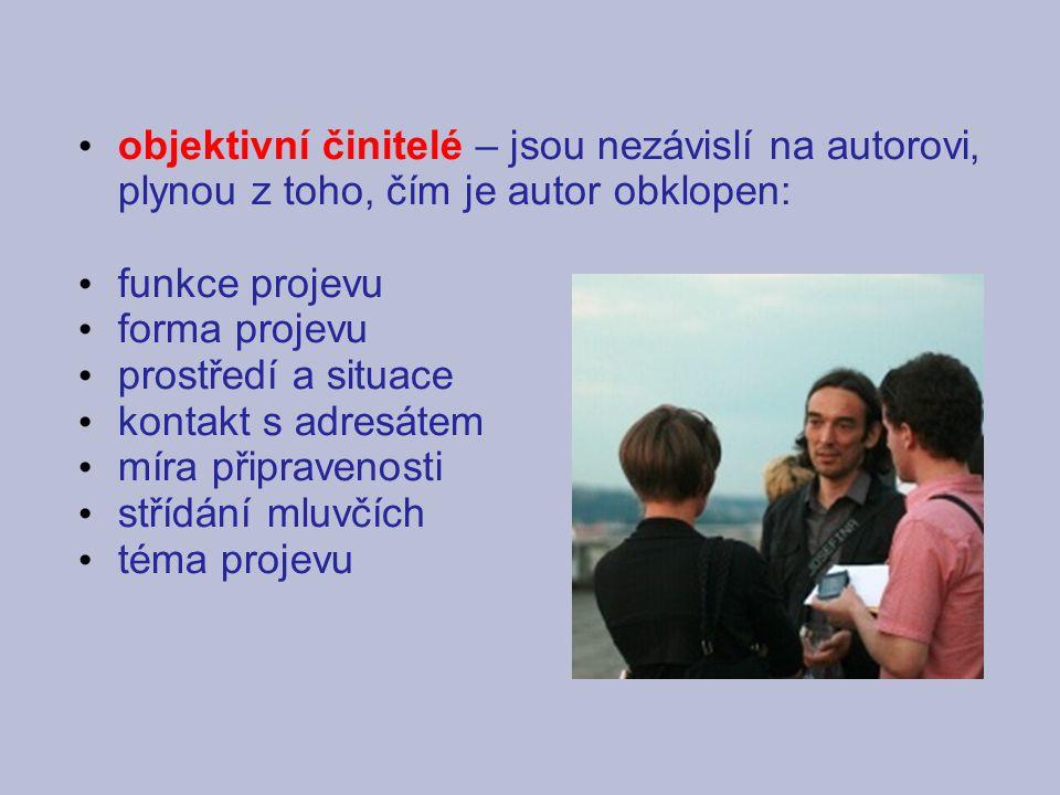 objektivní činitelé – jsou nezávislí na autorovi, plynou z toho, čím je autor obklopen: funkce projevu.