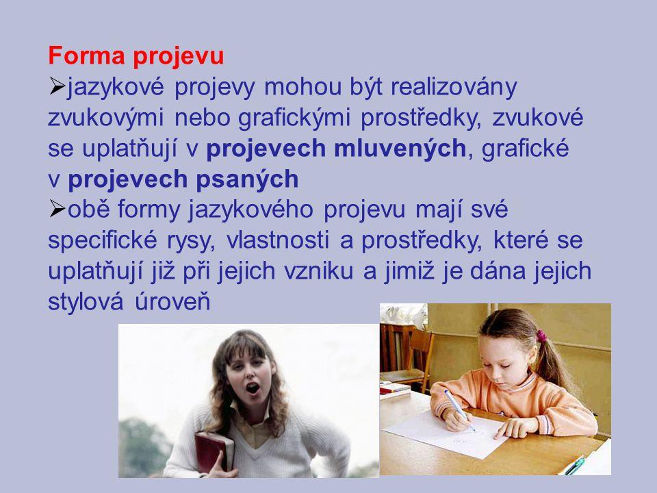 Forma projevu jazykové projevy mohou být realizovány zvukovými nebo grafickými prostředky, zvukové se uplatňují v projevech mluvených, grafické.