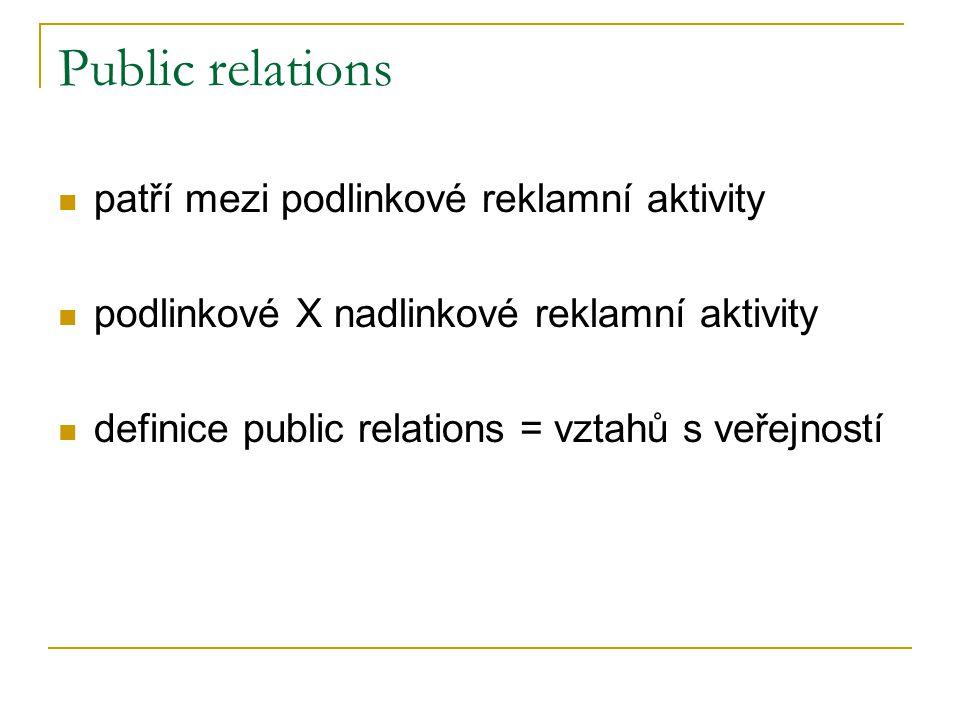 Public relations patří mezi podlinkové reklamní aktivity