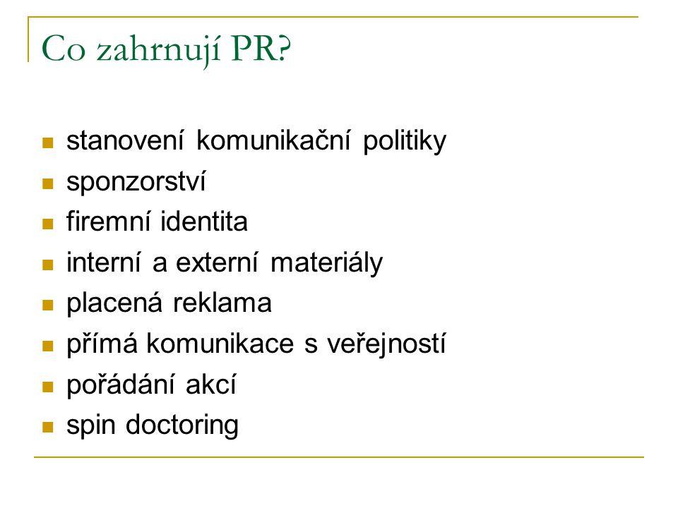Co zahrnují PR stanovení komunikační politiky sponzorství
