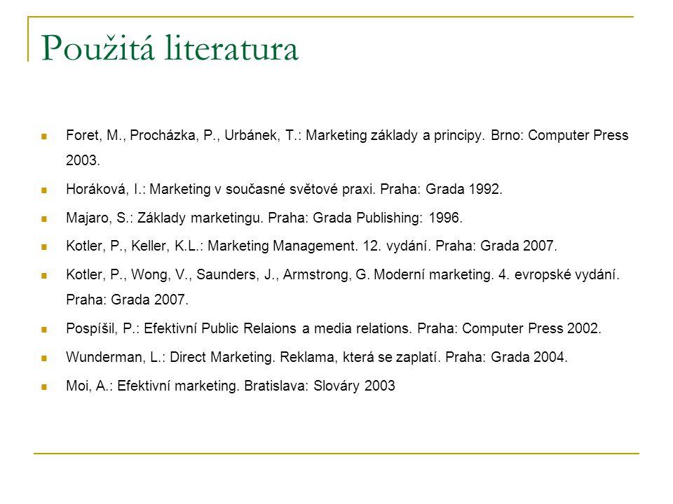 Použitá literatura Foret, M., Procházka, P., Urbánek, T.: Marketing základy a principy. Brno: Computer Press 2003.