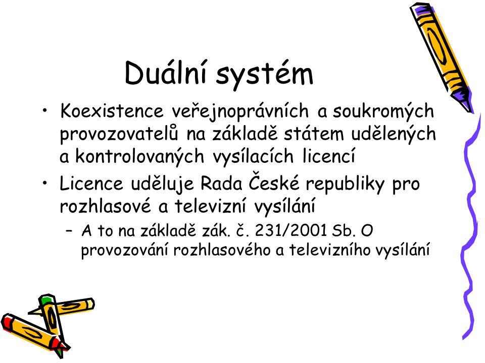 Duální systém Koexistence veřejnoprávních a soukromých provozovatelů na základě státem udělených a kontrolovaných vysílacích licencí.