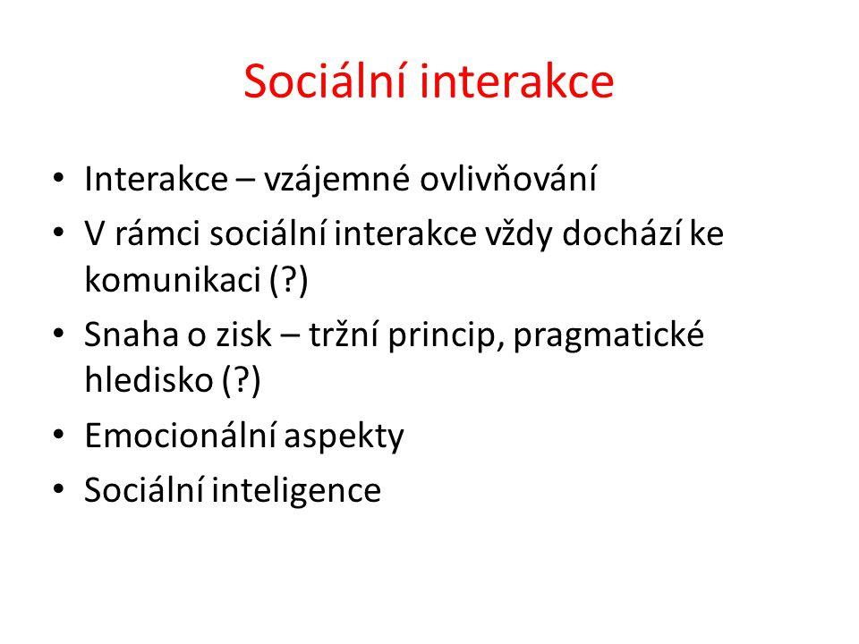 Sociální interakce Interakce – vzájemné ovlivňování