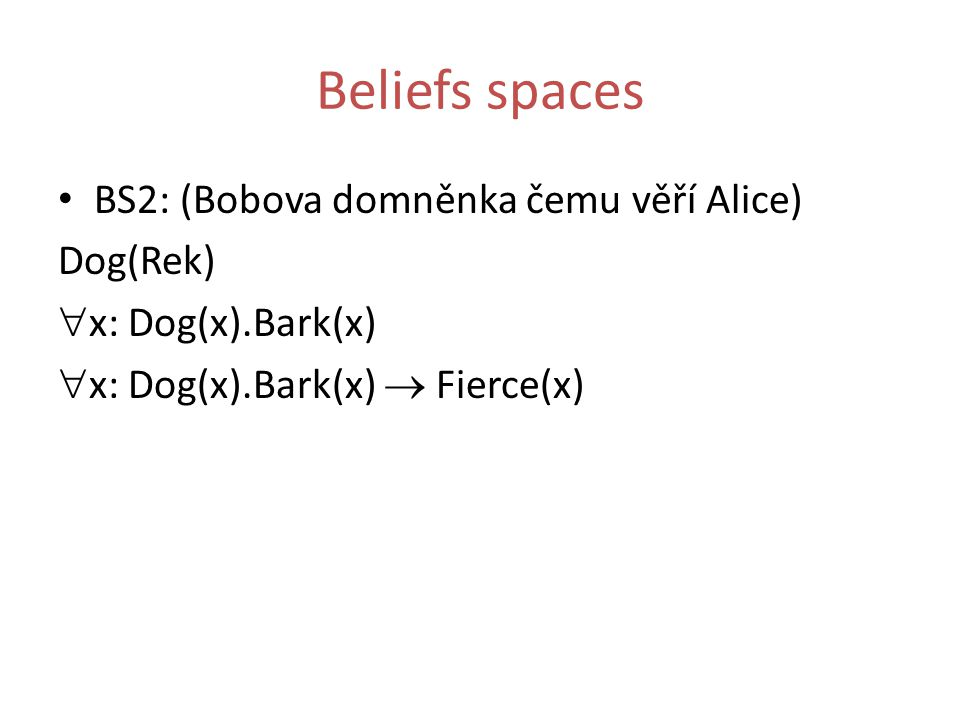 Beliefs spaces BS2: (Bobova domněnka čemu věří Alice) Dog(Rek)