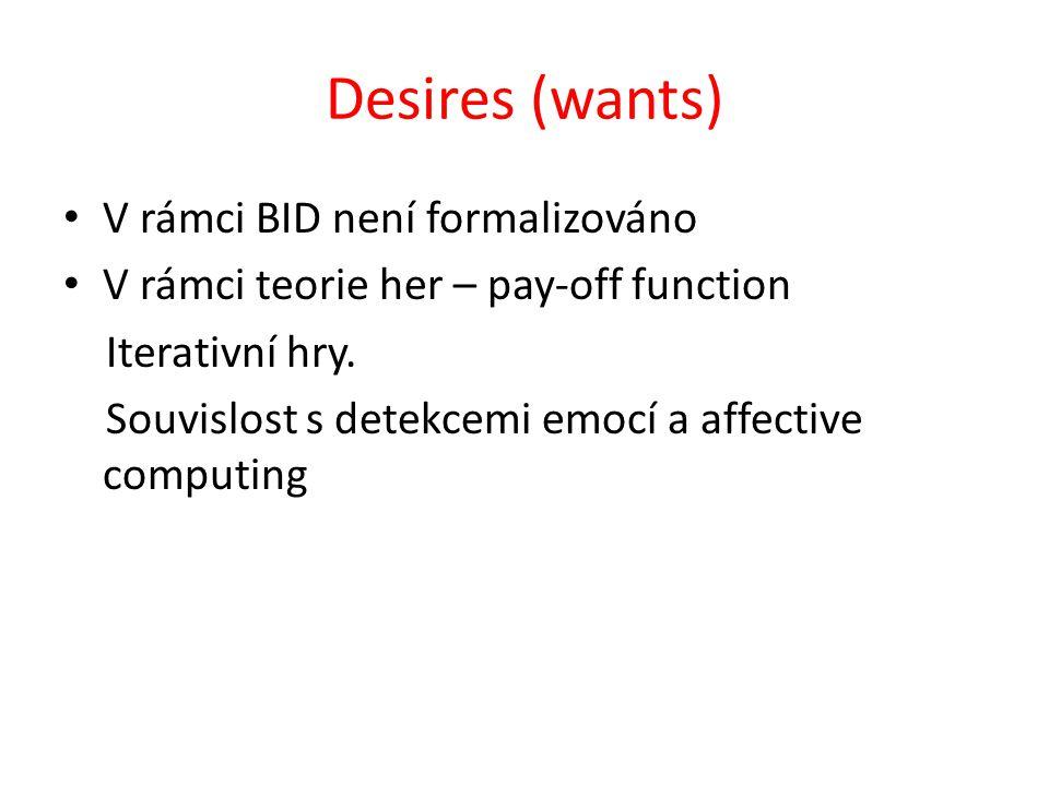 Desires (wants) V rámci BID není formalizováno