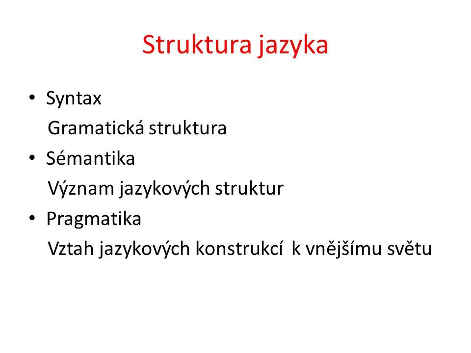 Struktura jazyka Syntax Gramatická struktura Sémantika