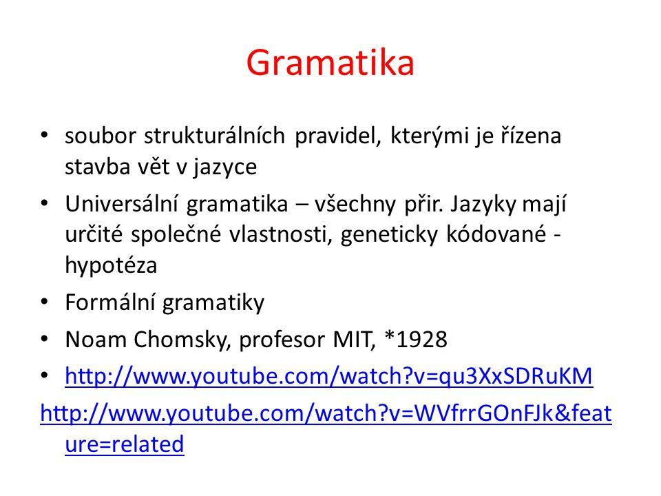 Gramatika soubor strukturálních pravidel, kterými je řízena stavba vět v jazyce.