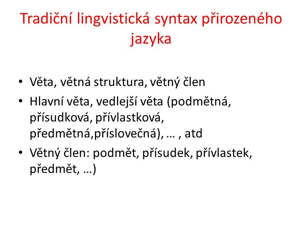 Tradiční lingvistická syntax přirozeného jazyka