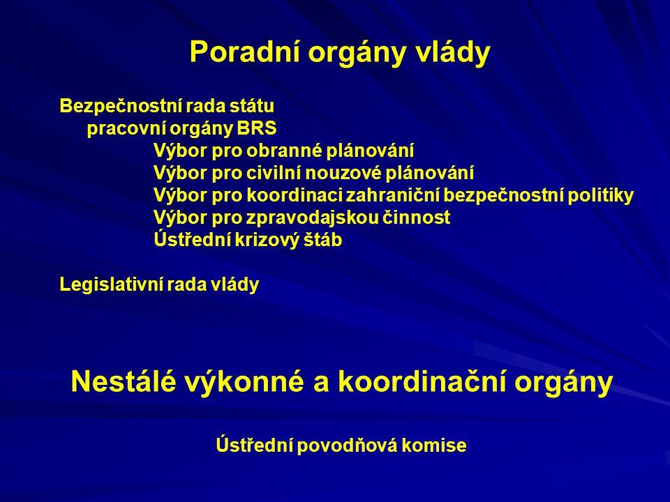 Nestálé výkonné a koordinační orgány Ústřední povodňová komise