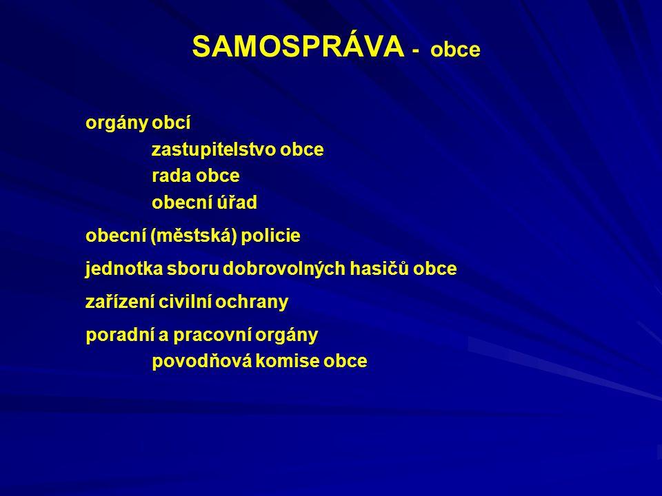 SAMOSPRÁVA - obce orgány obcí zastupitelstvo obce rada obce