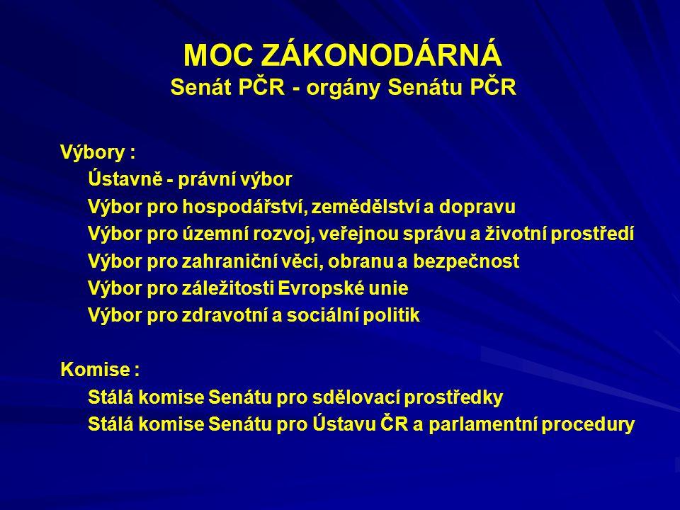 MOC ZÁKONODÁRNÁ Senát PČR - orgány Senátu PČR