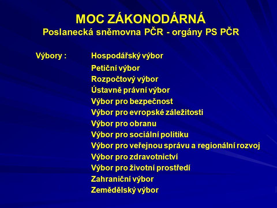 MOC ZÁKONODÁRNÁ Poslanecká sněmovna PČR - orgány PS PČR