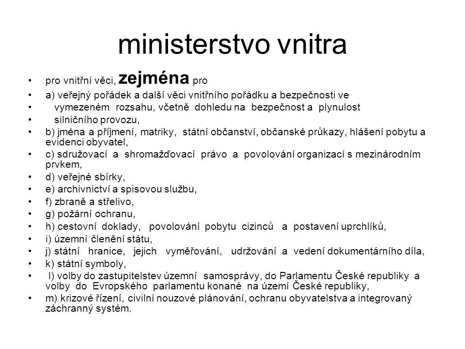 ministerstvo vnitra pro vnitřní věci, zejména pro