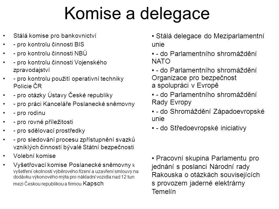 Komise a delegace Stálá delegace do Meziparlamentní unie