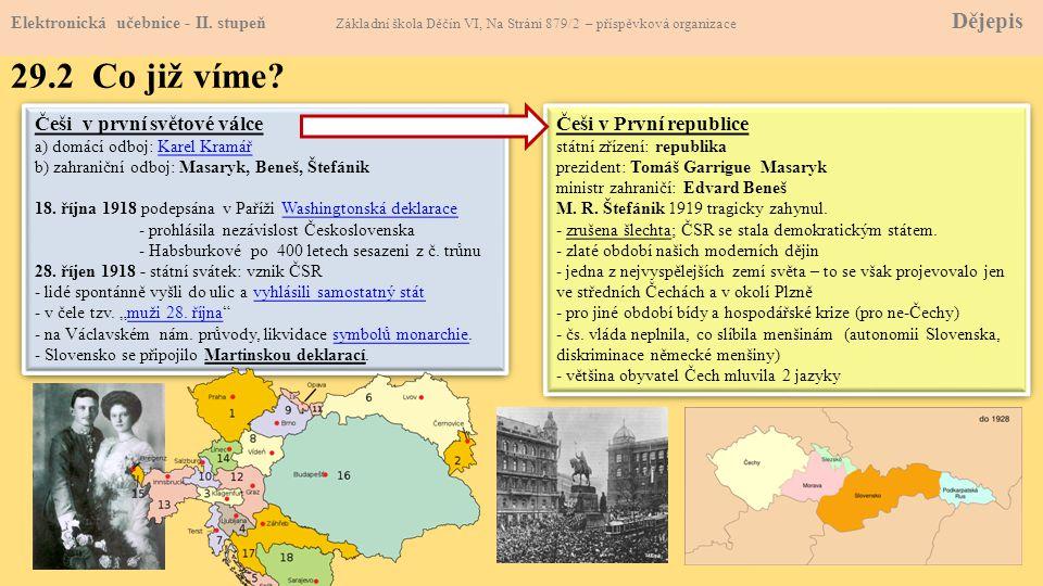 29.2 Co již víme Češi v první světové válce Češi v První republice