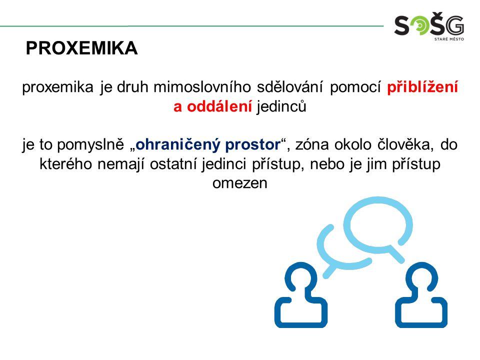 proxemika proxemika je druh mimoslovního sdělování pomocí přiblížení a oddálení jedinců.