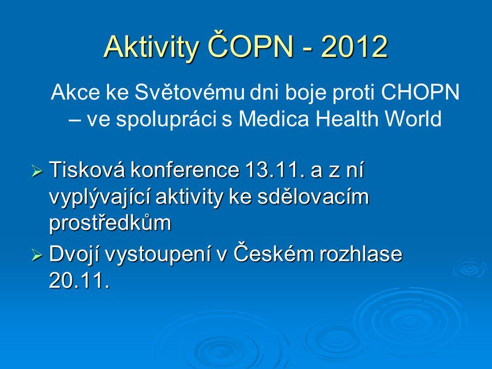Aktivity ČOPN - 2012 Akce ke Světovému dni boje proti CHOPN – ve spolupráci s Medica Health World.