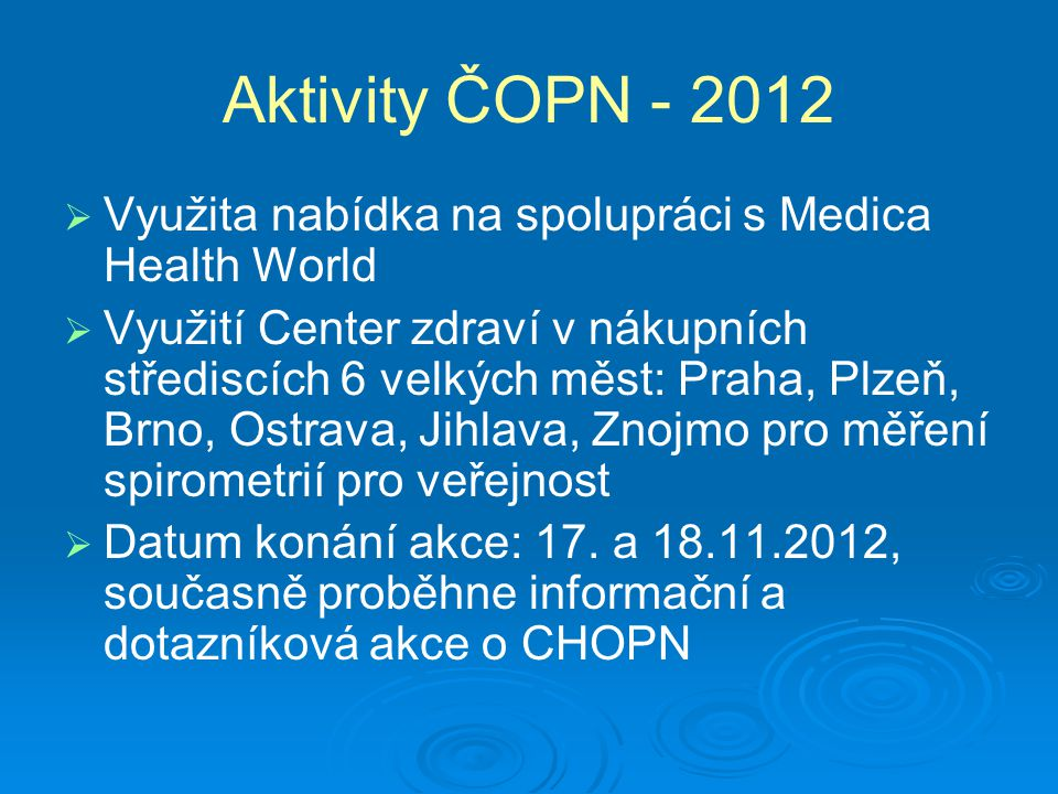 Aktivity ČOPN - 2012 Využita nabídka na spolupráci s Medica Health World.