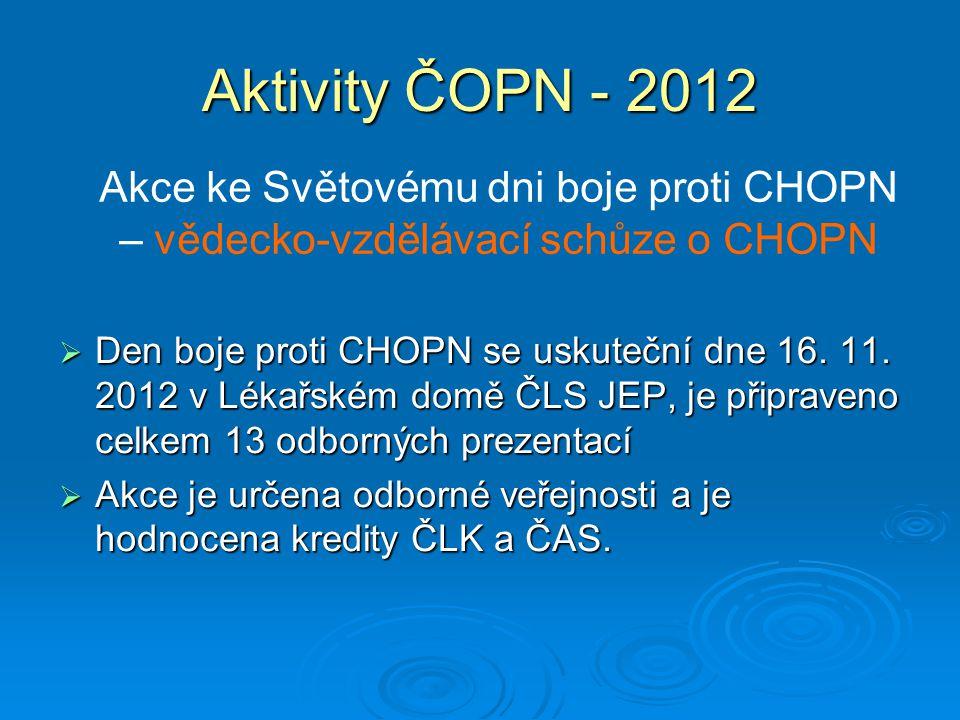 Aktivity ČOPN - 2012 Akce ke Světovému dni boje proti CHOPN – vědecko-vzdělávací schůze o CHOPN.