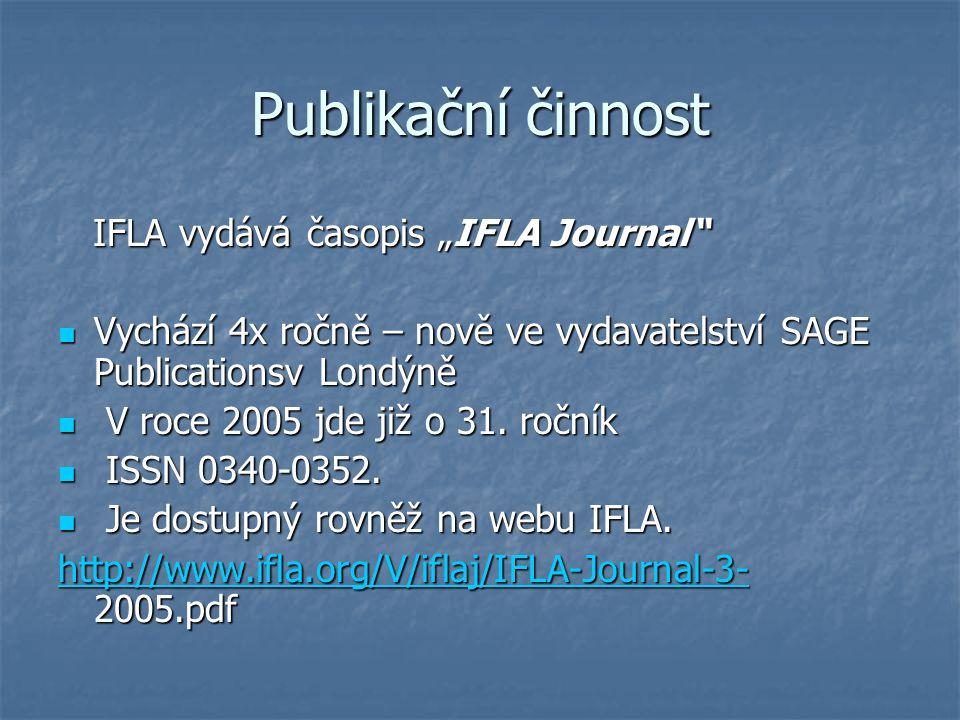 """Publikační činnost IFLA vydává časopis """"IFLA Journal"""