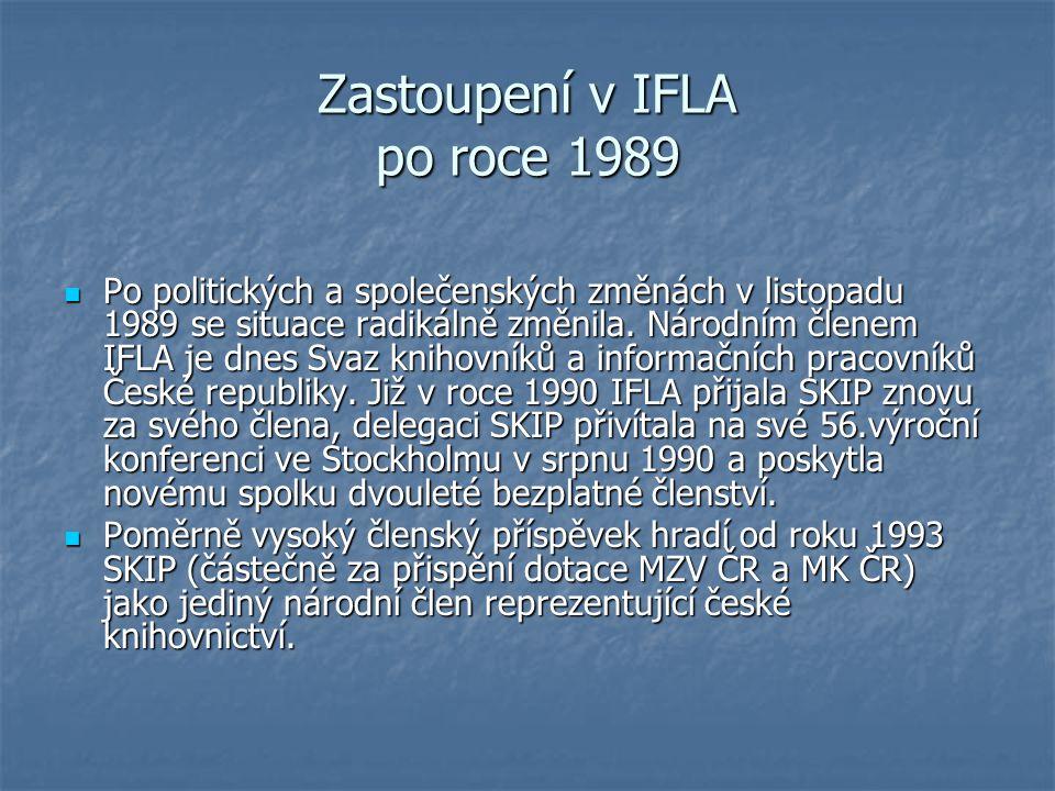 Zastoupení v IFLA po roce 1989