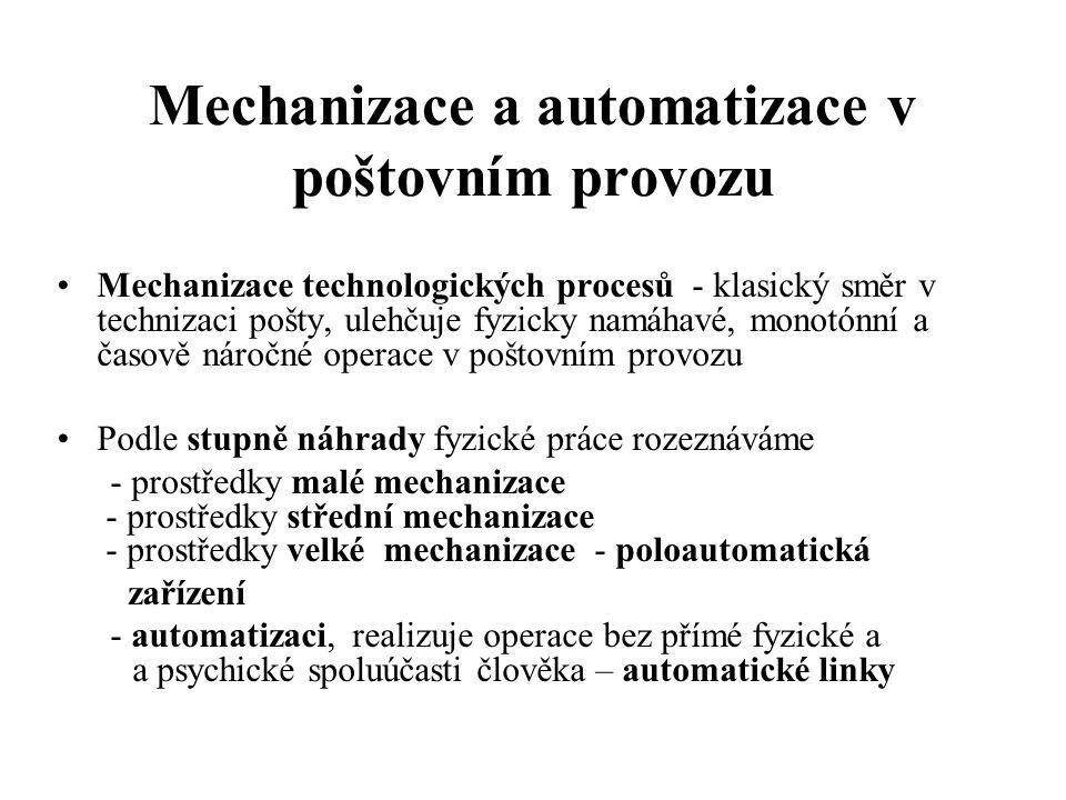 Mechanizace a automatizace v poštovním provozu