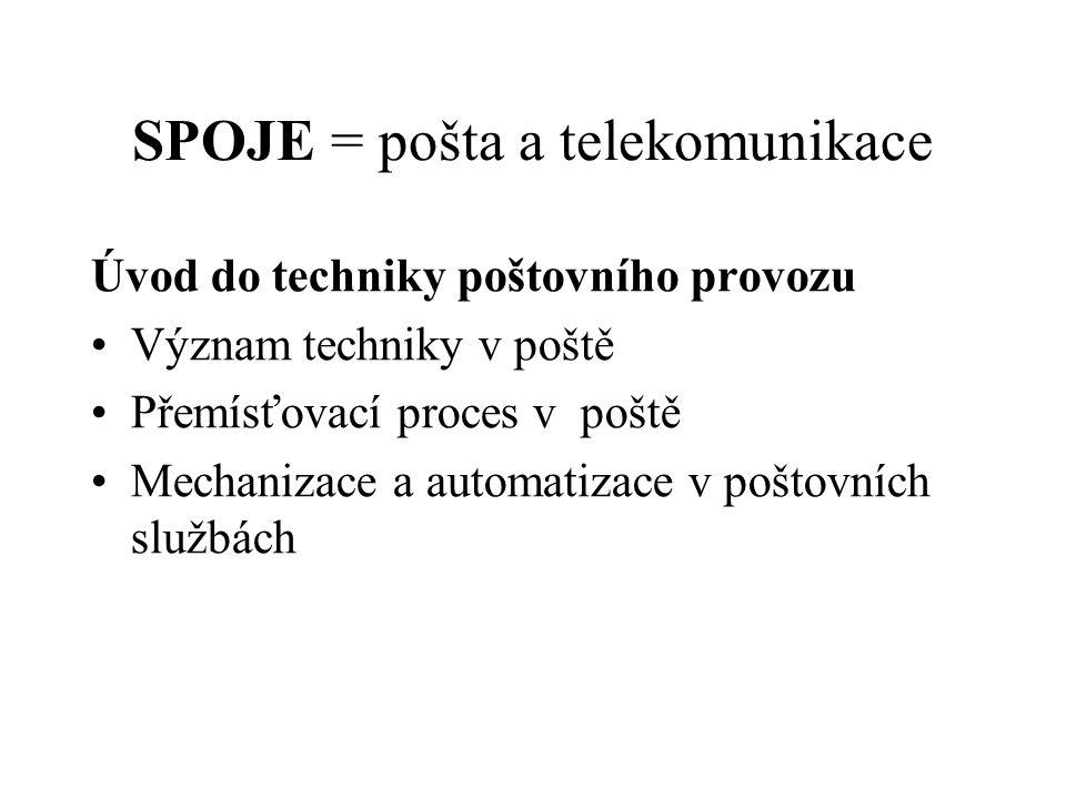 SPOJE = pošta a telekomunikace