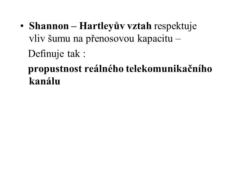 Shannon – Hartleyův vztah respektuje vliv šumu na přenosovou kapacitu –